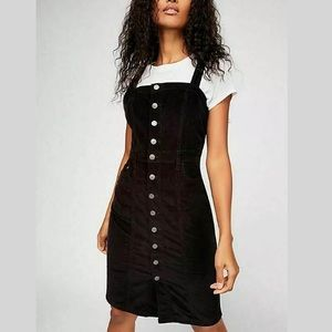 FREE PEOPLE Black Corduroy Button Up Jumper Dress